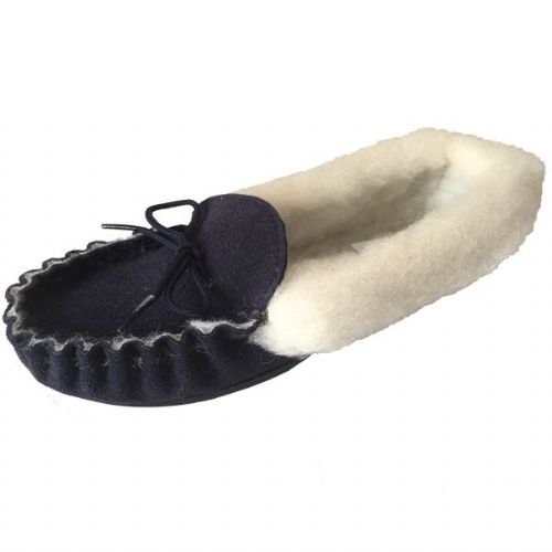 Moccasin Slippers Fur Lined Size 5 Navy Hard Sole
